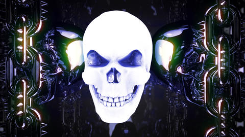 Gloving Metal Skull Loop CG動画素材
