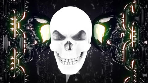 Gloving Metal Skull Loop Animation