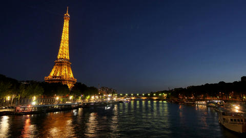 Eiffel Tower in Paris Time Lapse from Day to Night Image