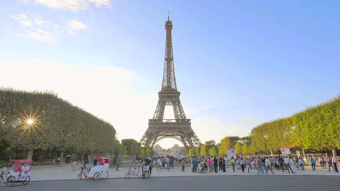Eiffel Tower on Champ de Mars in Paris Time Lapse at Sunset Footage