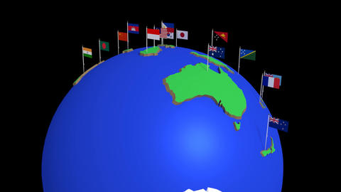 Spinning Globe with Flags Animación