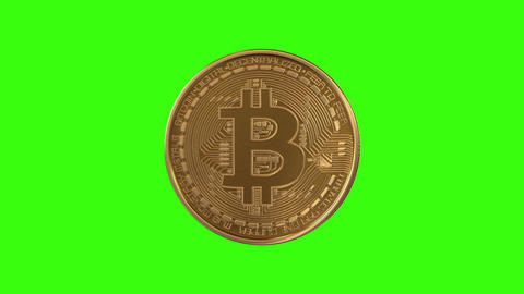 Turning Unstable Bitcoin on a Green Background Animation