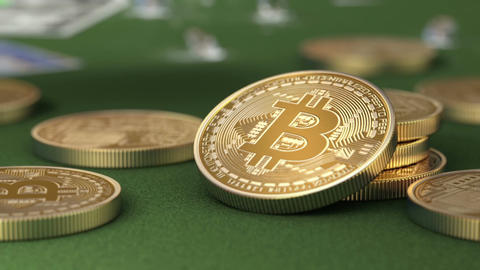 Bitcoins, Money, Gold and Diamonds, beautiful 3d animation Animation