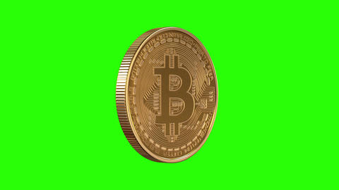Rotating Bitcoin on a green background Animation