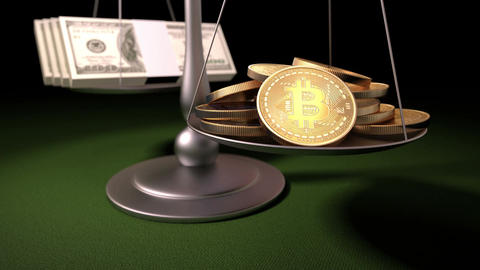 Bitcoins and Money on the Scales Animation