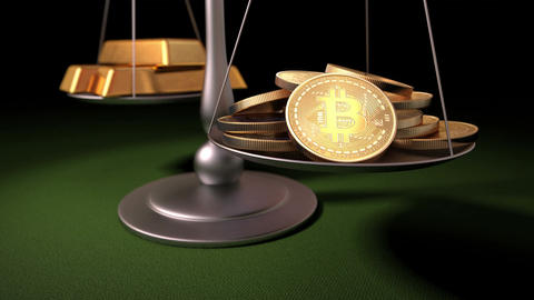 Bitcoins and Gold Ingots on the Scales Animation