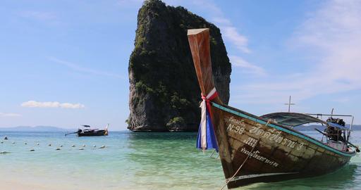 THAILAND, KRABI - 7 Feb, 2017. Tourist boat Live Action