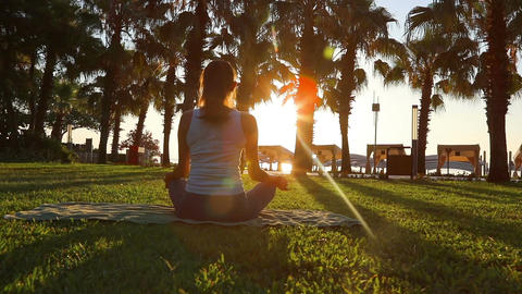 [alt video] Morning meditation in the park, woman practices yoga on...
