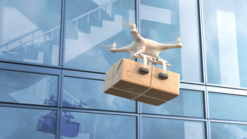 Quadcopter delivers a package against office building Animation