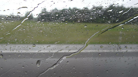 Rain drops bus window and speed background Footage