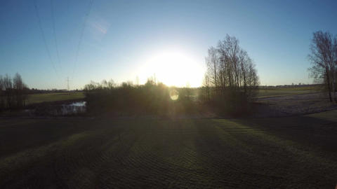 Early spring landscape with pond and morning sunrise, time lapse Footage