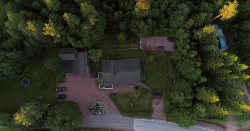 Detached house, Cinema 4k aerial view above a detached house, on the Footage