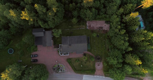 Detached house, Cinema 4k aerial view above a detached... Stock Video Footage