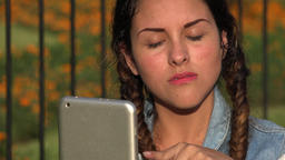 Confused Teen Girl With Tablet Footage