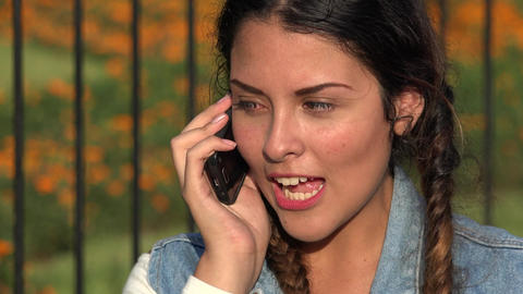 Teen Girl Talking On Cell Phone Footage