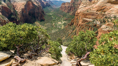 Zion Canyon HDR Timelapse/Hyperlapse - Angel's Landing View A (Zoom) Footage