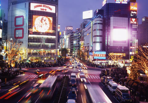 Shibuya crossing at dusk フォト