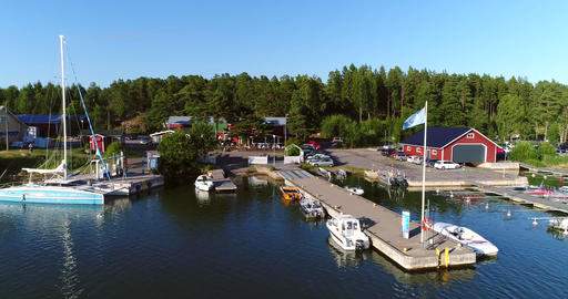 Marina, Cinema 4k aerial sideway view of sommarostrand guest harbor, in the finn Footage