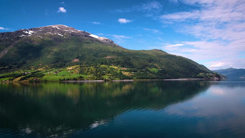 Aerial footage beautiful nature norway flying over the lakes and fjordsview from Live Action