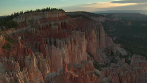 Aerial shot of bryce canyon national park above cliffs and valley Footage