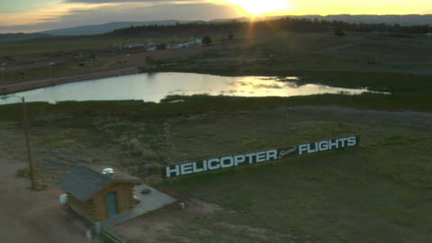 Aerial shot of scenic helicopter flights sign Footage