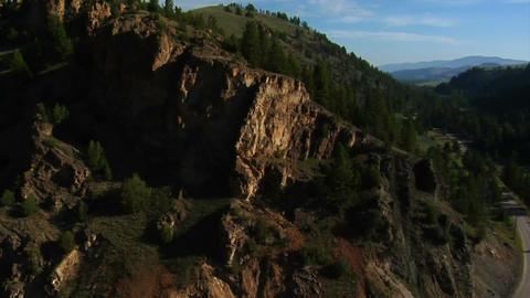 Aerial shot of mountainous cliffs Footage
