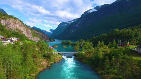 Beautiful nature norway natural landscape aerial footage lovatnet lake Live Action