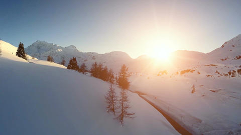 Snow winter landscape aerial view sunset dusk nature landscape Footage