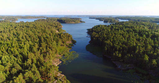 Island narrows, Cinema 4k aerial view flying over island strait, revealing a Footage
