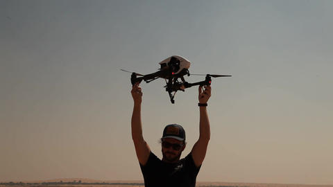 Aerial drone with an action camera Footage