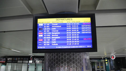 Departures Board in Airport Filmmaterial