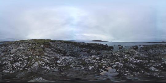 360 VR – Atlantic Ocean Panorama from rocky shore, Connemara, Ireland VR 360° Video