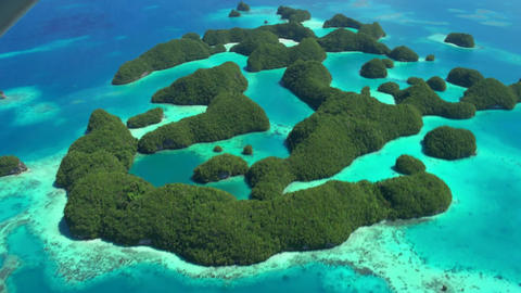 Aerial View From Plane Palau Micronesia Pacific Ocean Islands Archipelago Footage