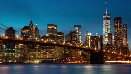 Manhattan and the Brooklyn Bridge. Evening Time Lapse 4K Footage