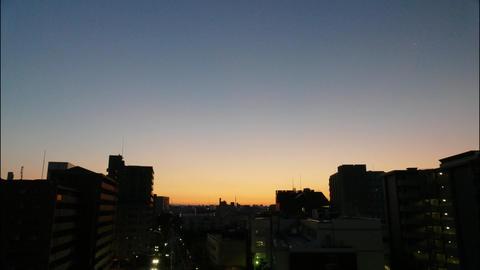 ビルからの日の出 日本名古屋 タイムラプス ビデオ