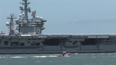 Navy Aircraft Carrier Sailing Into The San Francisco Bay stock footage