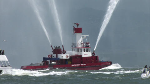 A Fire Fighting Boat in the San Francisco Bay Shooting Water 4 Footage