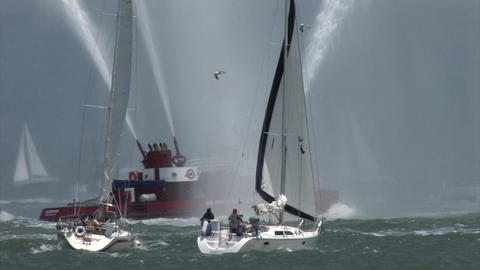A Fire Fighting Boat in the San Francisco Bay Shooting Water 3 Footage