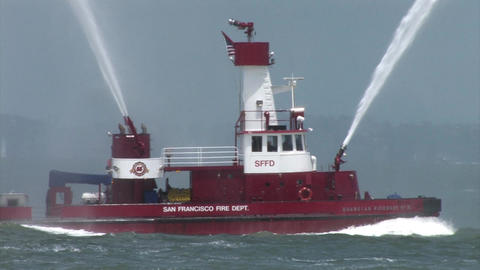 A Fire Fighting Boat in the San Francisco Bay Shooting Water Footage