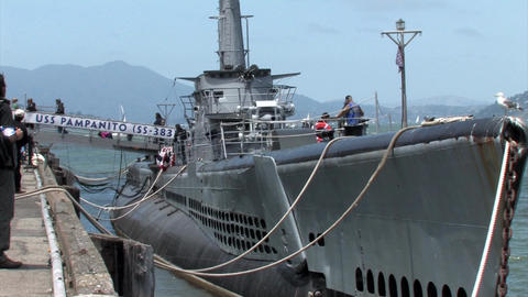 An old Diesel Submarine docked at Pier 39, San Francisco, California 1 Footage