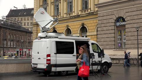 Satellite antenna on the car. 4K Footage