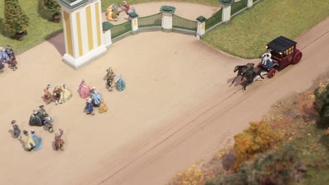 royal horse-drawn carriage arrives to the palace Footage