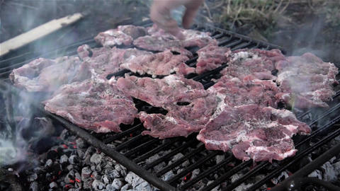 Meat On A Grill Set To Cold 6 stock footage