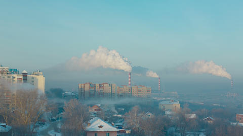 Smoke And Fog Over The City stock footage