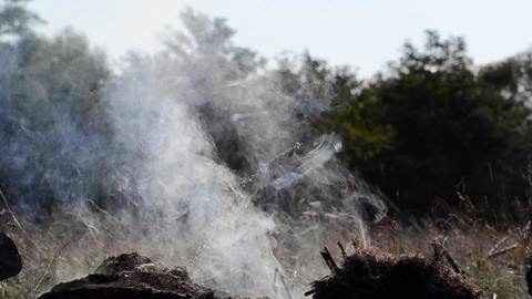 Pile Of Scrap, Which Were Set On Fire, Burned, And Now It Has Only White Smoke,  stock footage