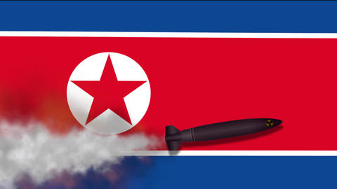 Nuclear Missile on the Background Flag of North Korea 画像