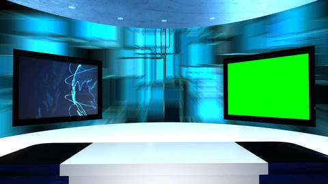 Virtual studio with a table and two TV screens. Virtual tv studio is designed to Animation