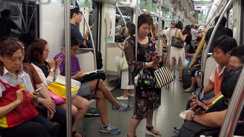 Chinese People And Commuters Riding Subway Train In Shanghai China Footage
