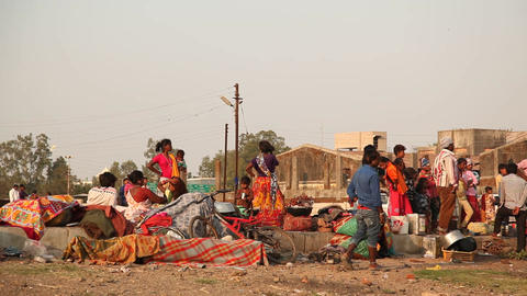 Indian people at street market Footage