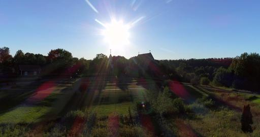 Medieval church, Cinema 4k aerial rising view of pyhan katarinan kirkko church,  Footage